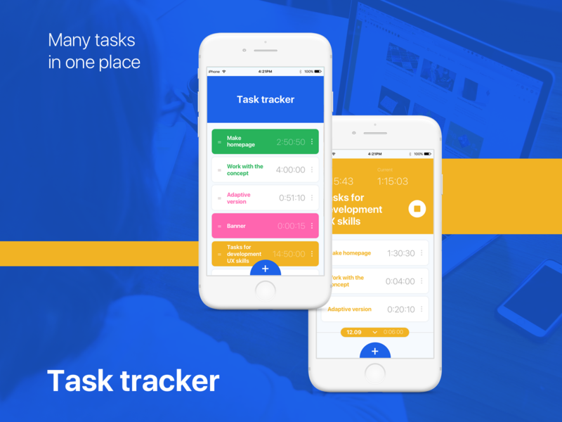 Task Tracker Shot 2 web work flow ux ui timer task tracker mobile design concept colorfull cards app