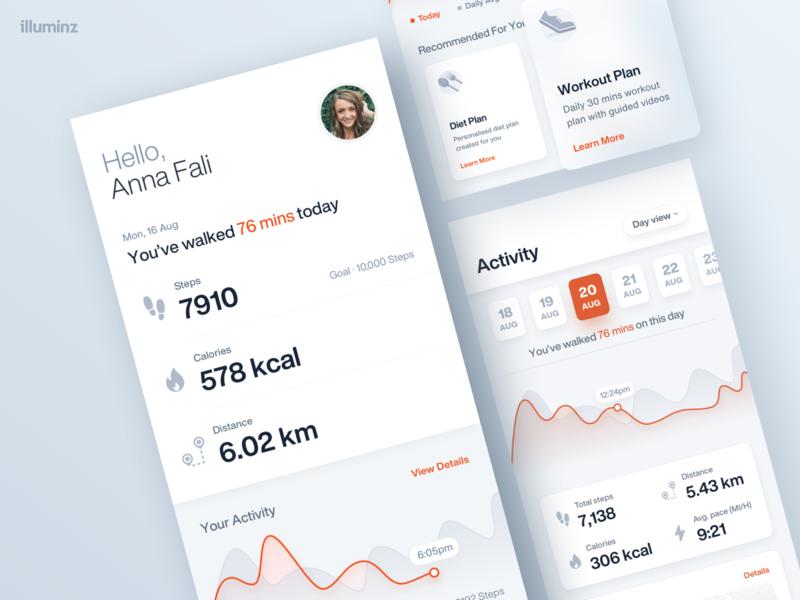 Fitness Activity App Design illuminz ios icons graphics minimal cards profile management workout running calendar charts graphs tracker activity statistics home screen application app dashboad