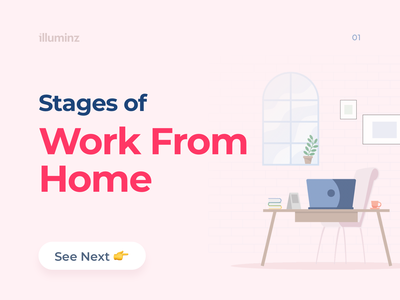 Stages of Work From Home art character design color palette instagram post quarantine covid19 work from home blog pastel pastel color procreate design post social media clean minimal typography colorful colors illustration