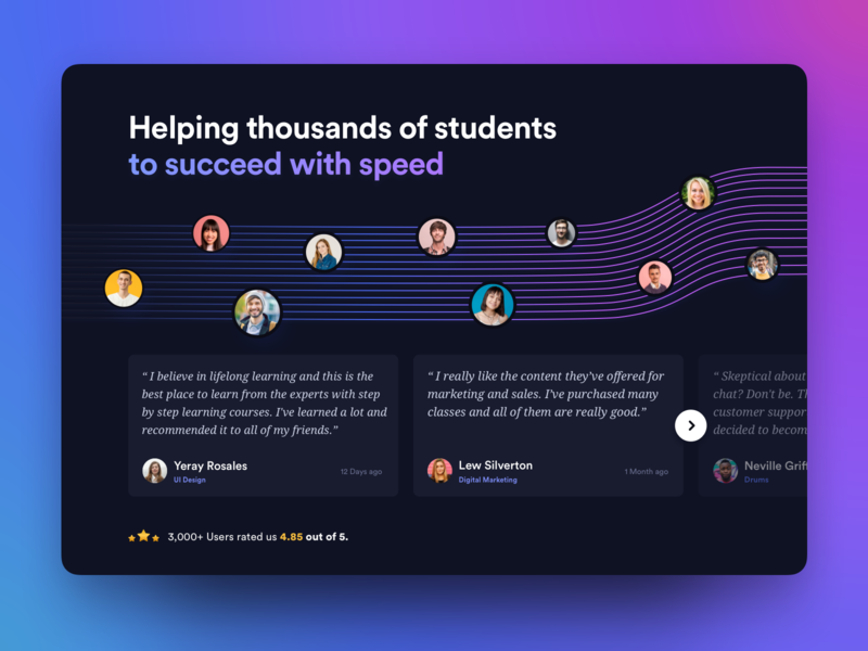 Testimonials design concept for a learning platform vibrant dark mode cards web quotes design concept web design reviews testimonials minimal clean website landing landing page colors gradients gradient typography user interface ui ux
