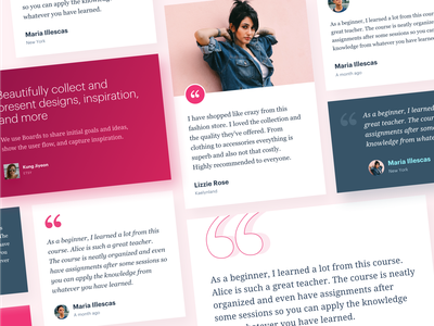 Testimonials Cards - Design Components application website gradient minimal design elements style guide web design clean ui ux typography component cards feedback reviews testimonials