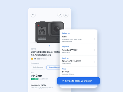 Instant Checkout - ECommerce App steps white motion order animation payment video principle clean ui ux product checkout loader skeleton microinteraction micro interaction shop ecommerce interaction