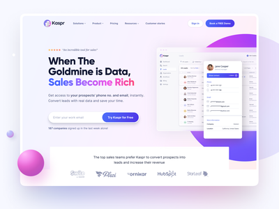 Kaspr Website Home Page marketing tool lead generation colors product landingpage marketing page home page grid ux design website design landing page landing web design web website design shapes gradient user interface