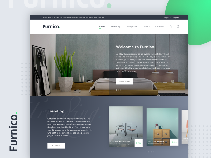 Furnico Online Furniture Store Website Design Concept By Anmol Arora On Dribbble