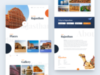 Rajasthan Travel Guide Concept Website's Landing page