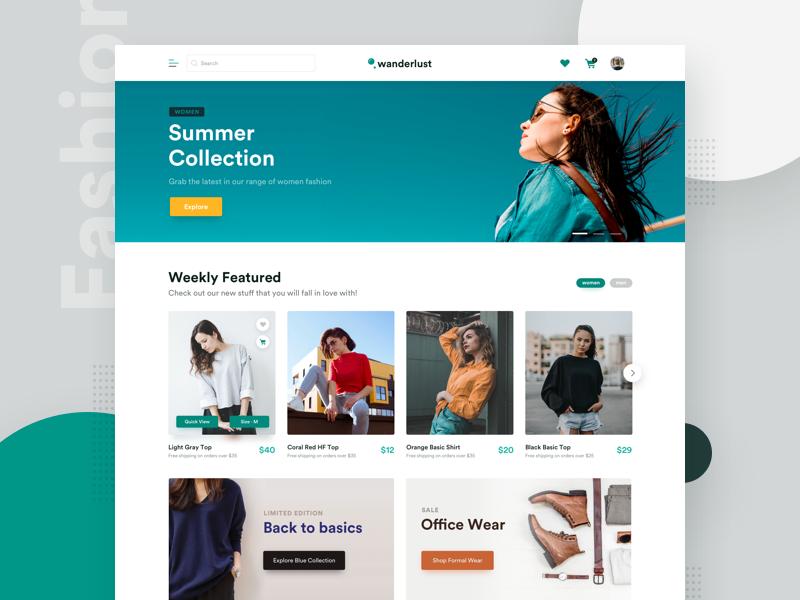 Wanderlust - E-Commerce Website Design landing page mobile minimal user interface typography ui ux ui design ecommerce store fashion shopping website