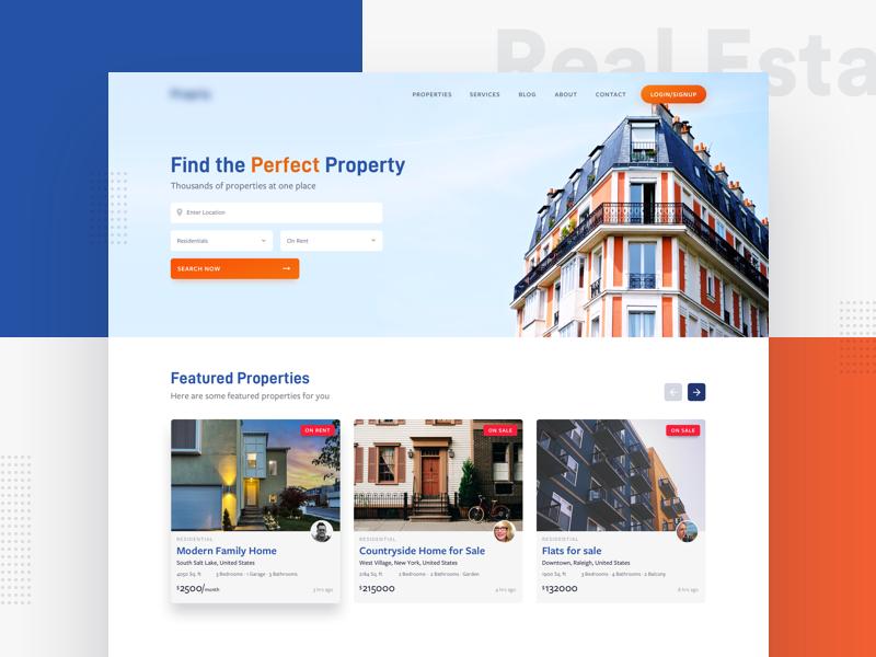 Real Estate Website Design web filter feeds mobile minimal user interface typography ui ux ui design landing page real estate website