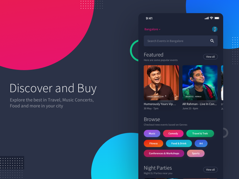 Mobile App - Discover and Buy Tickets for Events near you events dark website minimal user interface typography ui ux ui design travel booking feeds mobile app