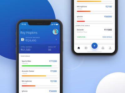 Money Saving Goals Mobile App Design