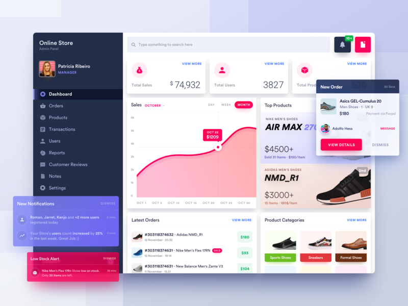 Online Shoes Store's Dashboard desktop online store mobile app sketch cards web app stats profile user experience interface analytics blue panel ecommerce ui ux app user interface design typography dashboard