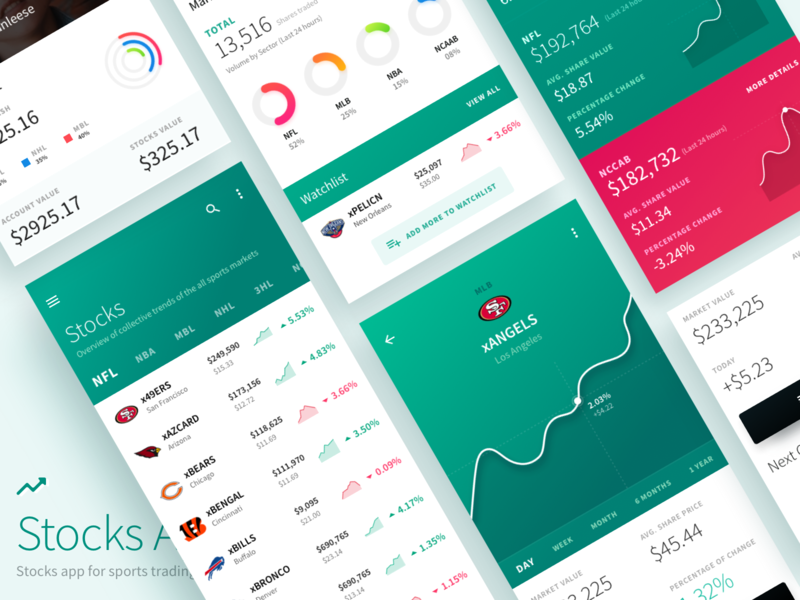 Sports Stock Trading Mobile Application Design payment user interface android crypto branding design web mobile sports finance business stock exchange exchange app design stocks typography app mobile app ui ux ui design