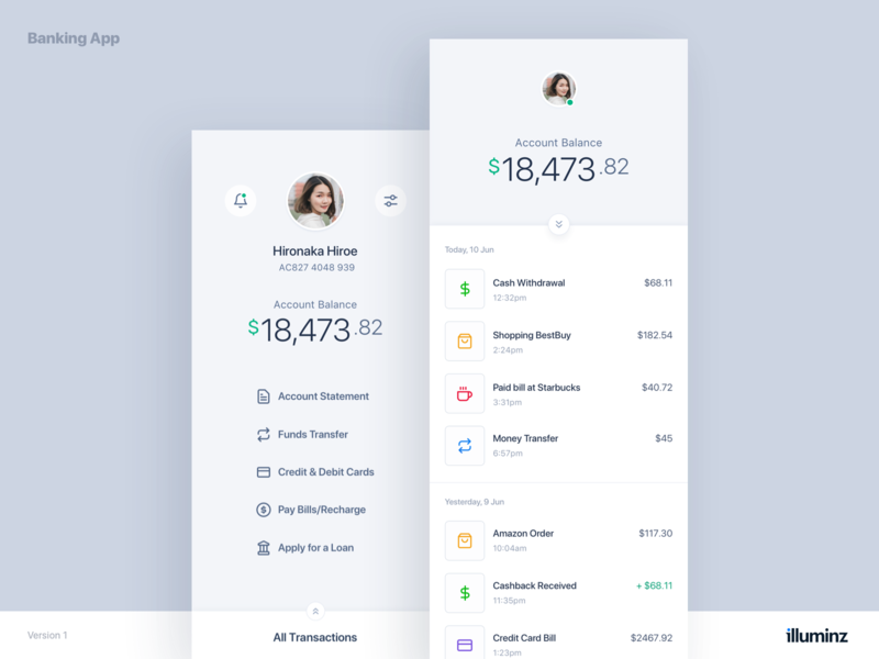 Mobile Banking App Concept - Light profile transactions funds mobile banking ui design clean ios app user interface typography ui ux finance currency minimal cards bank app banking app banking