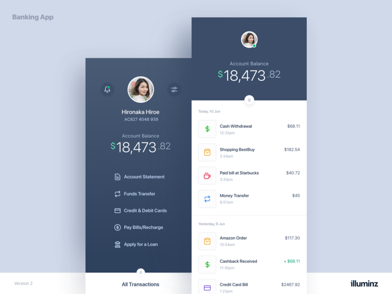 Mobile Banking App Concept Dark Version accounts finance user interface profile transaction ios app design minimal ui ux ui design typography dark ui clean cards banking app banking bank app app