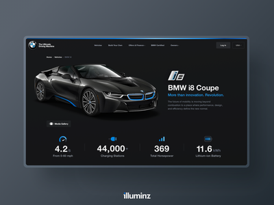 BMW i8 Web Design Concept sport machine learning iconography landing page detail page electric car dark web design concept user interface clean minimal bmw car cars typography mobile website ui ux