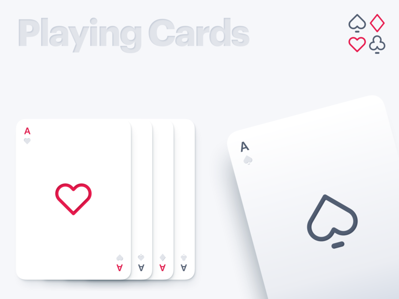 Minimal Playing Cards colors iconography illustration skeuomorphic abstract design challenge weeklywarmup dribbbleweeklywarmup cards design 3d shadows shadow clean minimal card cards