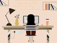 Flat Design Illustration Girl on Desk