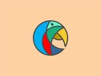 Colorful Geometric Bird Head Logo Icon Vector