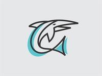 Monoline Swordfish logo icon vector
