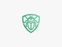Monoline Bug in Shield Logo icon