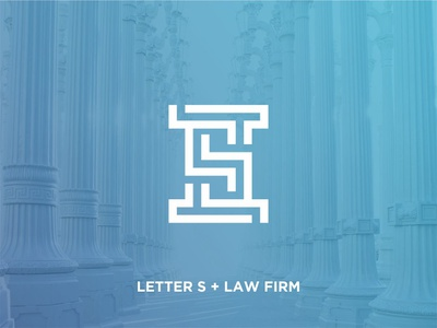 Letter S initial + Law Firm Logo Icon Concept geometric mature monoline creative idea concept office icons logo crime justice office lawyer firm law alphabet typography font alphabet initial s letter