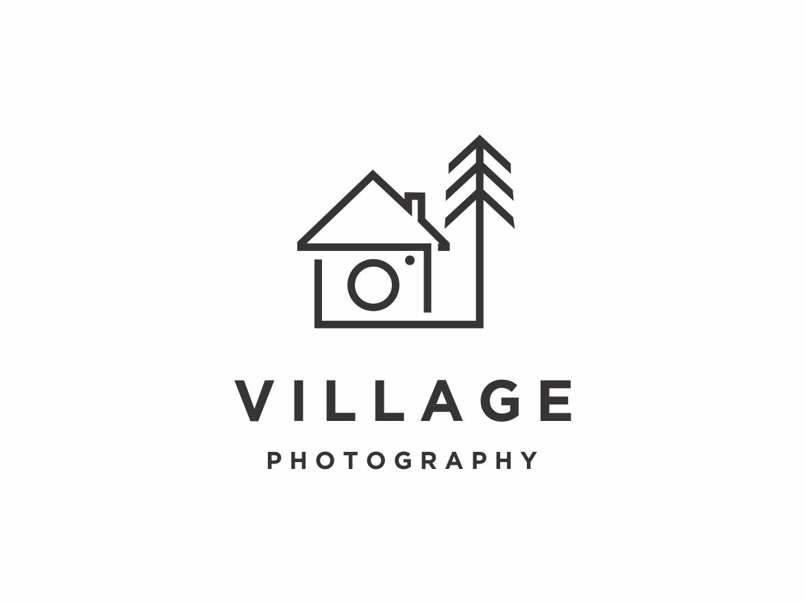 Village Photography photo shot record picture images capture camera photography line art monoline tree landmark house home village graphic  design graphic vector icon logo