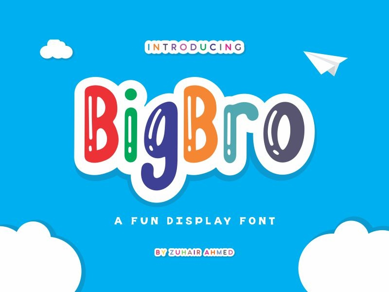 BigBro Font preschool colorful display typeface happy learn book poster kids school playful children fun brother big lettering ttf otf typography font