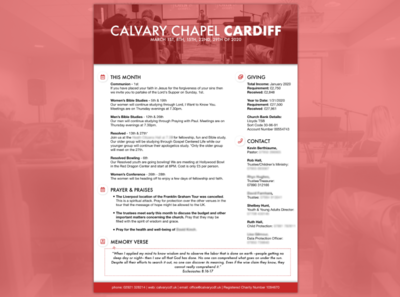 Calvary Chapel Cardiff Monthly Newsletter