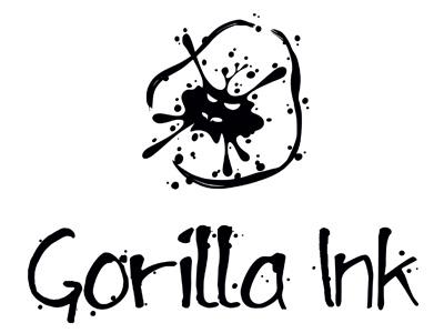 Gorilla Ink Logo Design gorilla ink logo design monkey ape template company slogan black spots paint creative studio graphics business
