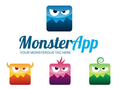 MonsterApp logo Template monster app character art karakter cartoon square vector illustrator