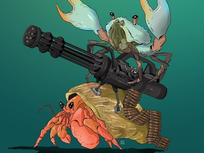 Calibers & Crustaceans illustration animals characters concept silly crab