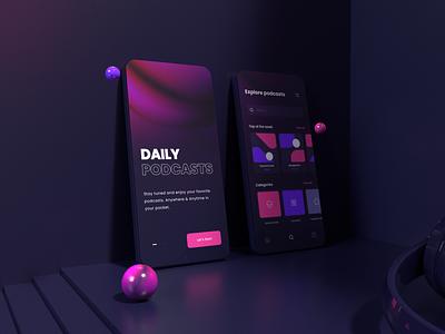 Podcast app (sneak peek) 3d model 3d art uxdesign ux ui design ui typography podcast mockup iphone 12 mockup iphone apple styleguide color palette design 3d scene clean minimal
