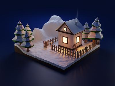 Winter evening (3D scene) 3d model blender 3d colors winter house night 3d scene lowpoly 3d art 3d blender