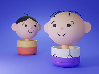 Bolek and Lolek (3D characters) bolek i lolek bolek color palette 3d scene 3d model 3d modeling lolek low-poly lowpoly minimal 2021 trend blender 3d 3d art 3d blender 3d animation