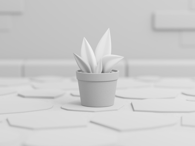 Flower in a pot  flowers lowpoly design cinema4d blender clean illustration minimal 3d scene 3d model
