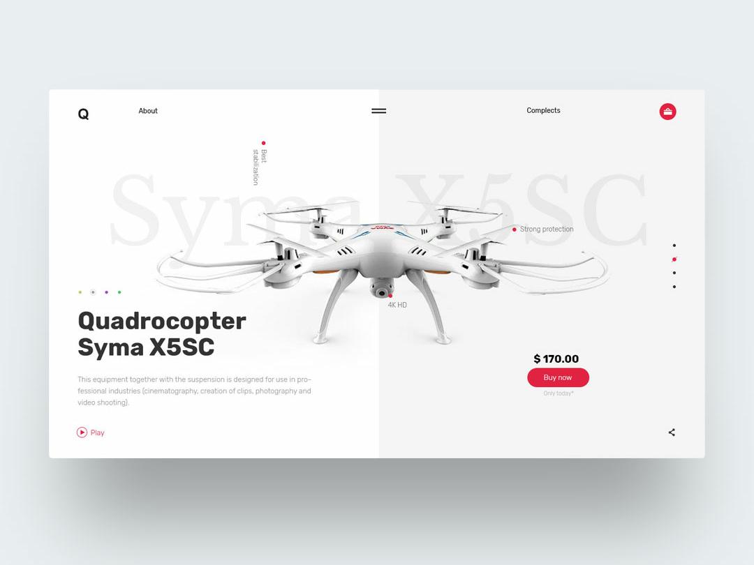 Quadcopter concept web challenge ui screw fly tech promo quadrocopter quadro