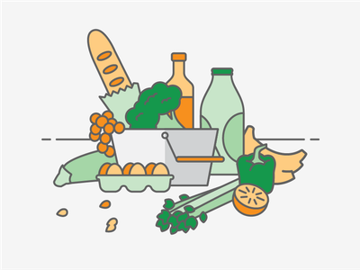 Globus App Illustrations supermarket mobile food basket food shopping mobile illustration app illustration app illustrations mobile app