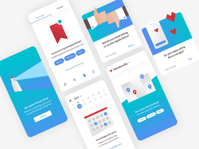 Zero states for Reservio app 📱 rating calendar not found location minimalistic product design flat illustration flat ui app no results booking app ui elements abstract app illustrations illustration ux zero state ui mobile mobile app