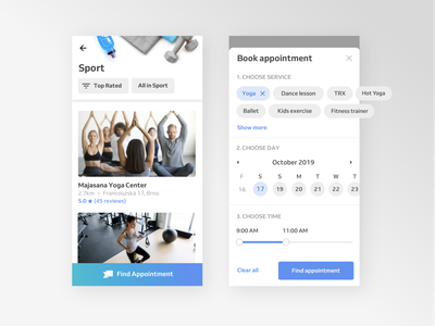 Appointment Booking App UI 🛎📱 mobile app tag date picker filters ui elements marketplace time slider yoga app sport ux ui reservio appointment search calendar popup appointment booking event booking app