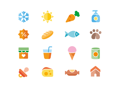 Icons for Groceries App 🛒 globus simple ui elements flat ui supermarket food icon set grocery list grocery app groceries flat design flat icons icon design icon