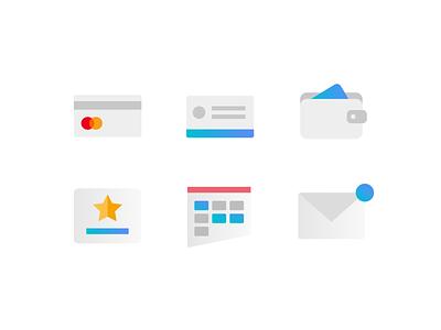 Simple Icons for Booking App 📱💳⭐️ minimalist gradient pass payment methods mobile ui icon set sato ui abstract ui simple alert notification message calendar premium credit card payment icon design ui mobile app