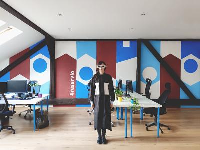 Office Mural - Reservio 👩🏻🎨 mobile app ui design office mural mural design office design ui elements reservio office space mural