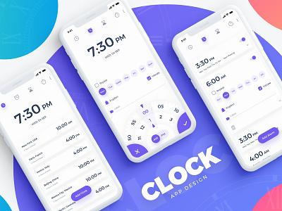 Clock App ui-ux visual design ios clock app android ui ux user experience interaction interaction design user interface
