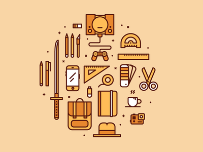 Graphic Designer Icons illustration illo vector icon playstation gopro backpack bill kill katana designer graphic