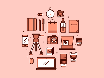 Photographer Icons clock hatter mad pictures vector icon easel lens photographic roll camera