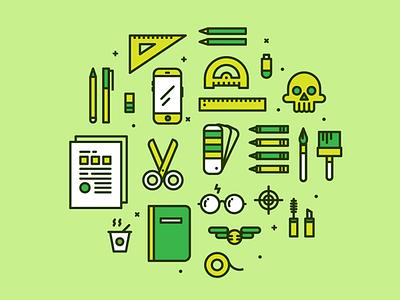 "Graphic Designer ""Two"" Icons instruments pantone skull vector illustration illo icon graphic designer"