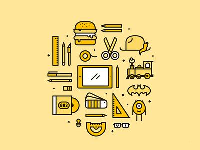 "Graphic Designer ""Three"" Icons train ipadpro monsters batman hamburger vector pantone instruments illustration icon graphic designer"