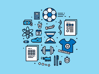 Project Manager Icons duedates excel calculator bigbang bazinga mathematics soccer time vector illustration icon graphic