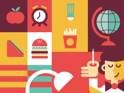 School Food apple sandwich burger salt potato geometric shapes graphic food vector flat illustration