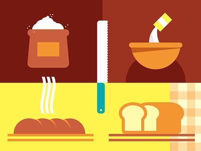 Bread salt sandwich bread knife flour recipe flat illustration