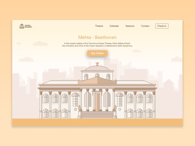 Sneakpeek Theatre color card header design illustration monuments landing page ux ui theater